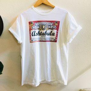 BUDWEISER beer parody T-shirt Vtg retro white L